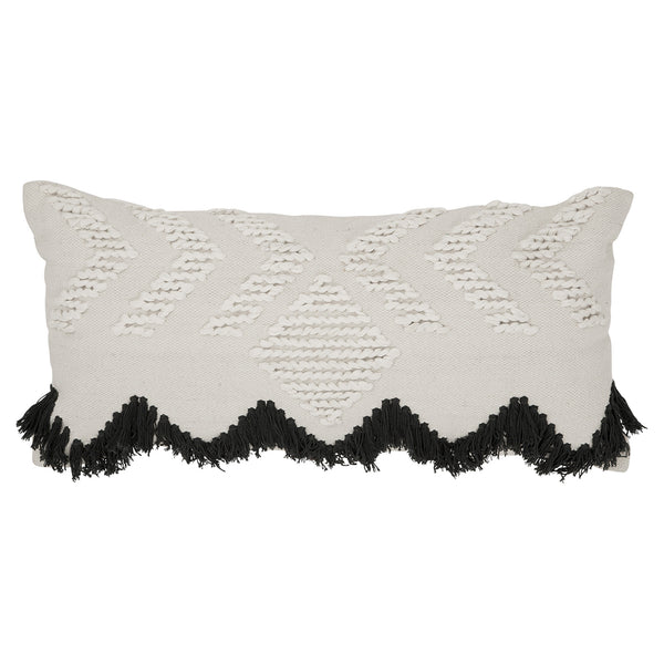 Fringe Rectangular Cushion- White and Black Fringing