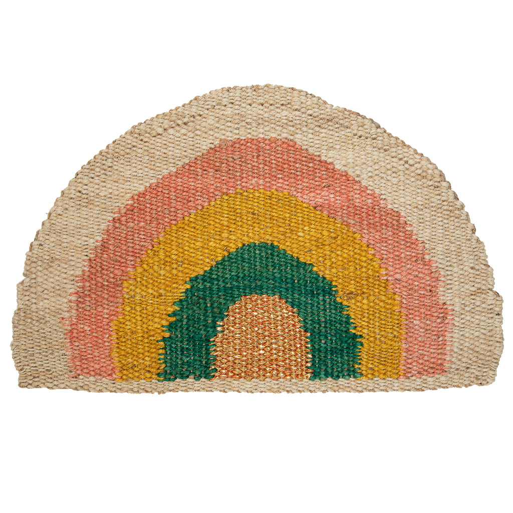 Rainbow Doormat - Coral/Yellow/Green/Natural/Gold