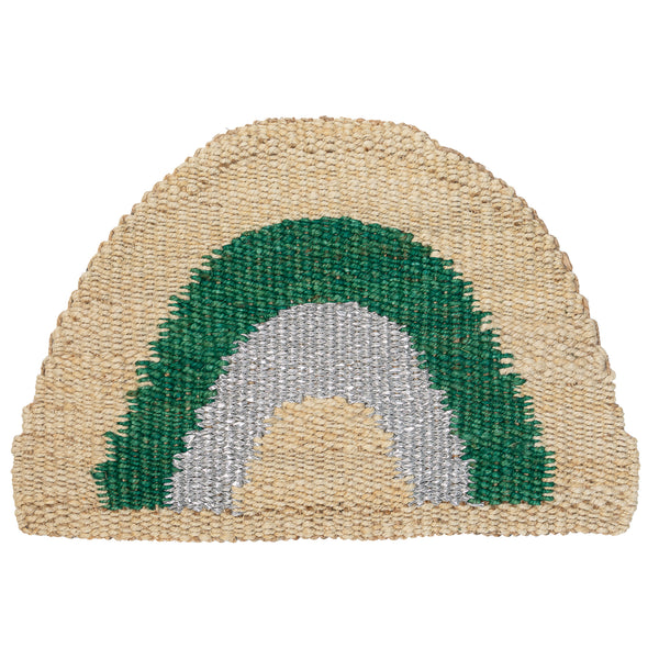 Aquarius Round Doormat - Green/Silver/Natural
