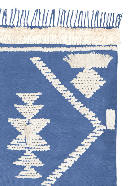 Fringe Rug- Indigo and White