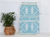 Fringe Rug- Pale Blue and White