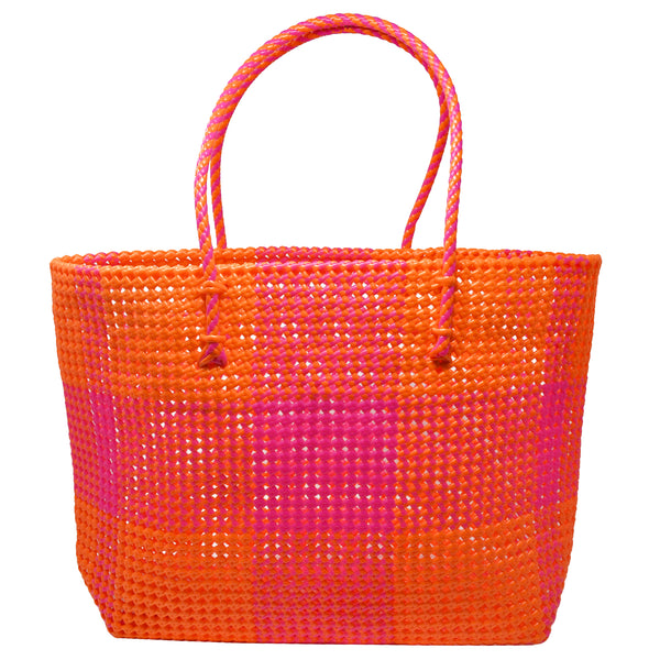Shelly Shopper- Pink/Orange Check