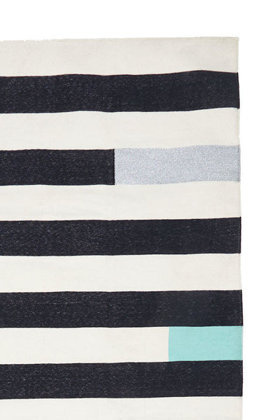Striped Rug - Mint/Silver