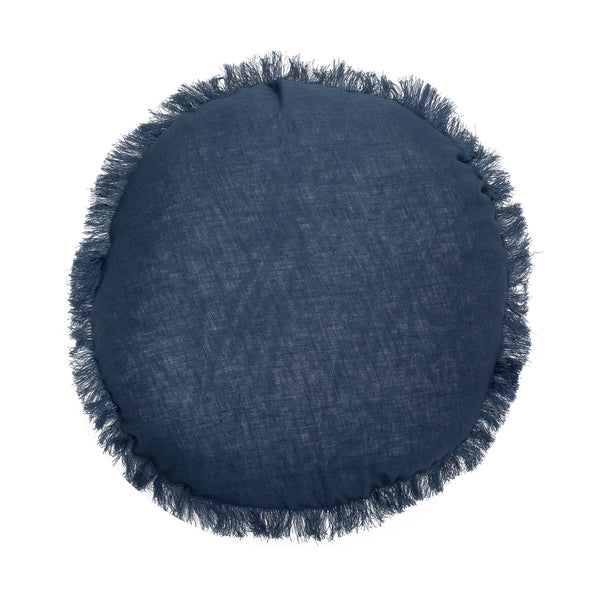 Remy Round Linen Cushion 40cm  - Navy