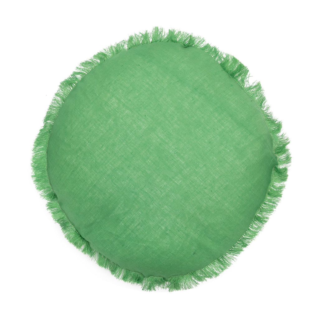 Remy Round Linen Cushion 40cm  - Green