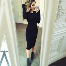 Load image into Gallery viewer, Newly Autumn Spring Women Long Sleeve Dress Bod Sexy Slim Fit O-neck Casual Dresses
