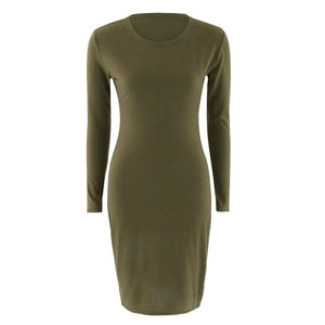 Newly Autumn Spring Women Long Sleeve Dress Bod Sexy Slim Fit O-neck Casual Dresses