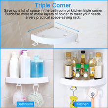 Load image into Gallery viewer, Shelf Snap Up Corner Shelf  Plastic  Shower Storage Wall Holder