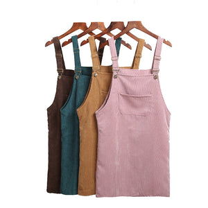 Women Retro Corduroy Dress Autumn Spring Suspender Sundress Sarafan Loose Vest Female Natural Casual Dresses