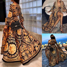 Load image into Gallery viewer, Retro Floral Print Summer Dresses For Women Gold Color Long Sleeve Neck Maxi Dress Women Holiday Club Dresses