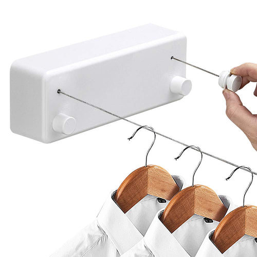 Creative Outdoor Indoor Retractable Clothesline Rope Telescopic Stainless String Clothesline Laundry Hangers Wall Drying Rack