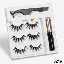 Load image into Gallery viewer, 3 Pairs Magnetic Eyelashes set Magnet Liquid Eyeliner