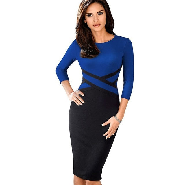 Lady Patchwork Contrast Autumn Casual Business Office Dress Work Elegant Three Quarter and short Sleeve Bodycon Dress