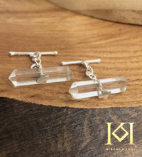 Load image into Gallery viewer, Clear Quartz Cufflinks