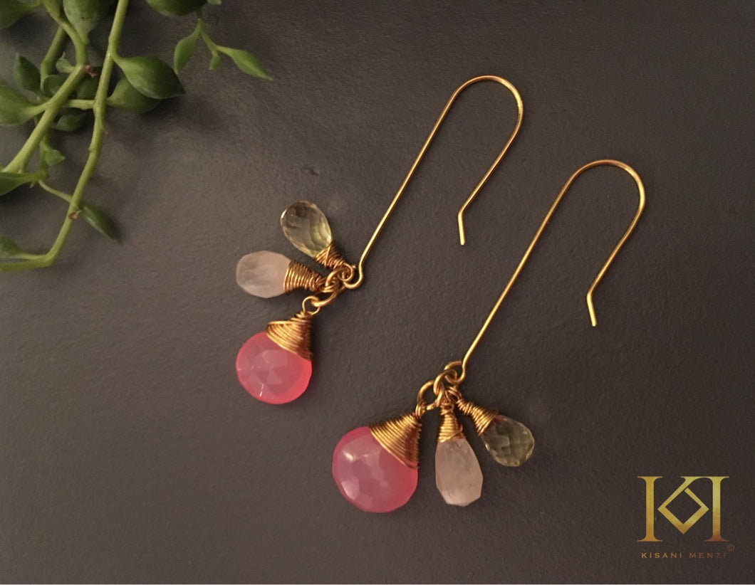 Pink Moon Gemstone Earrings