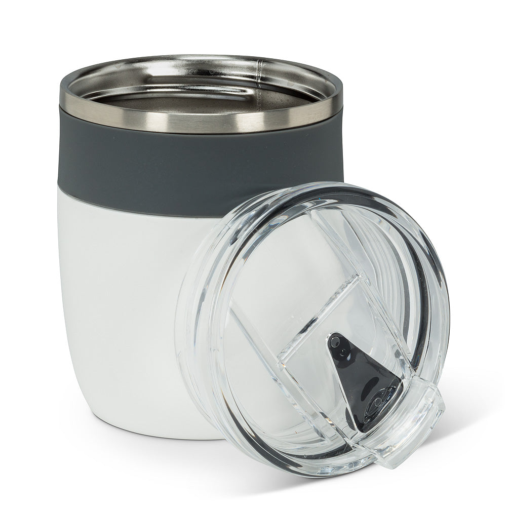 Bevi Insulated Tumbler with Flip-Top Lid: White