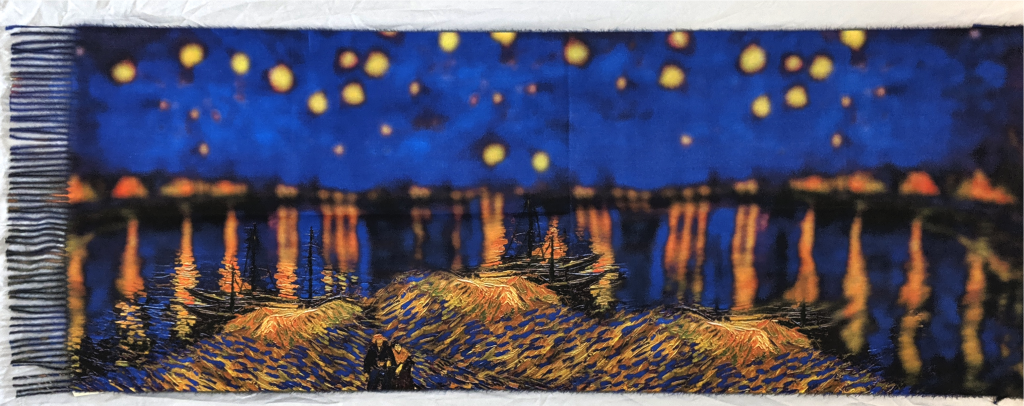 Oil Painting Scarf: Night River