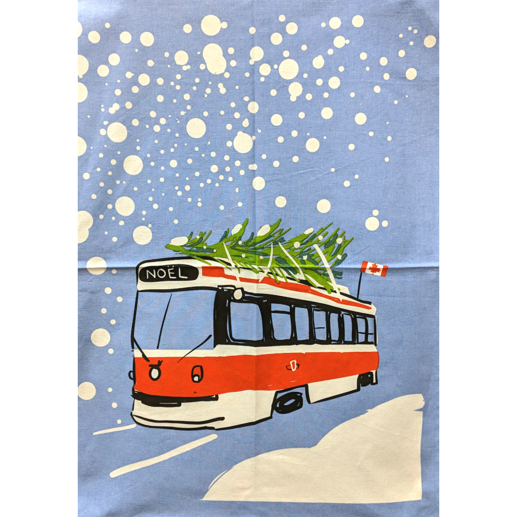 Toronto Winter Streetcar Tea Towel