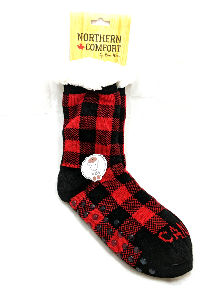 Red Buffalo Plaid Slipper Socks