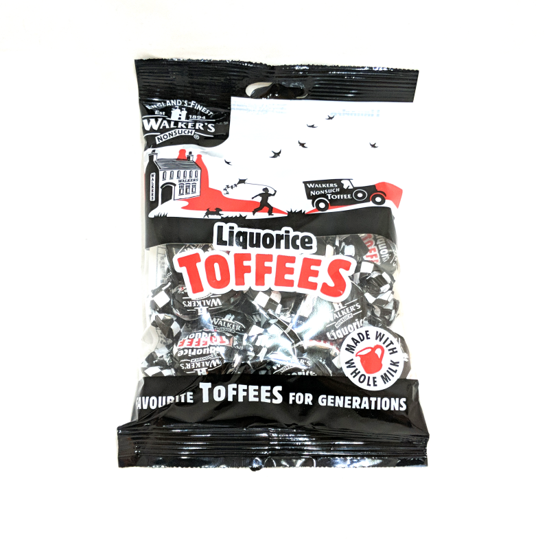 Black liquorice licorice Toffee Walkers Whole Milk Candy