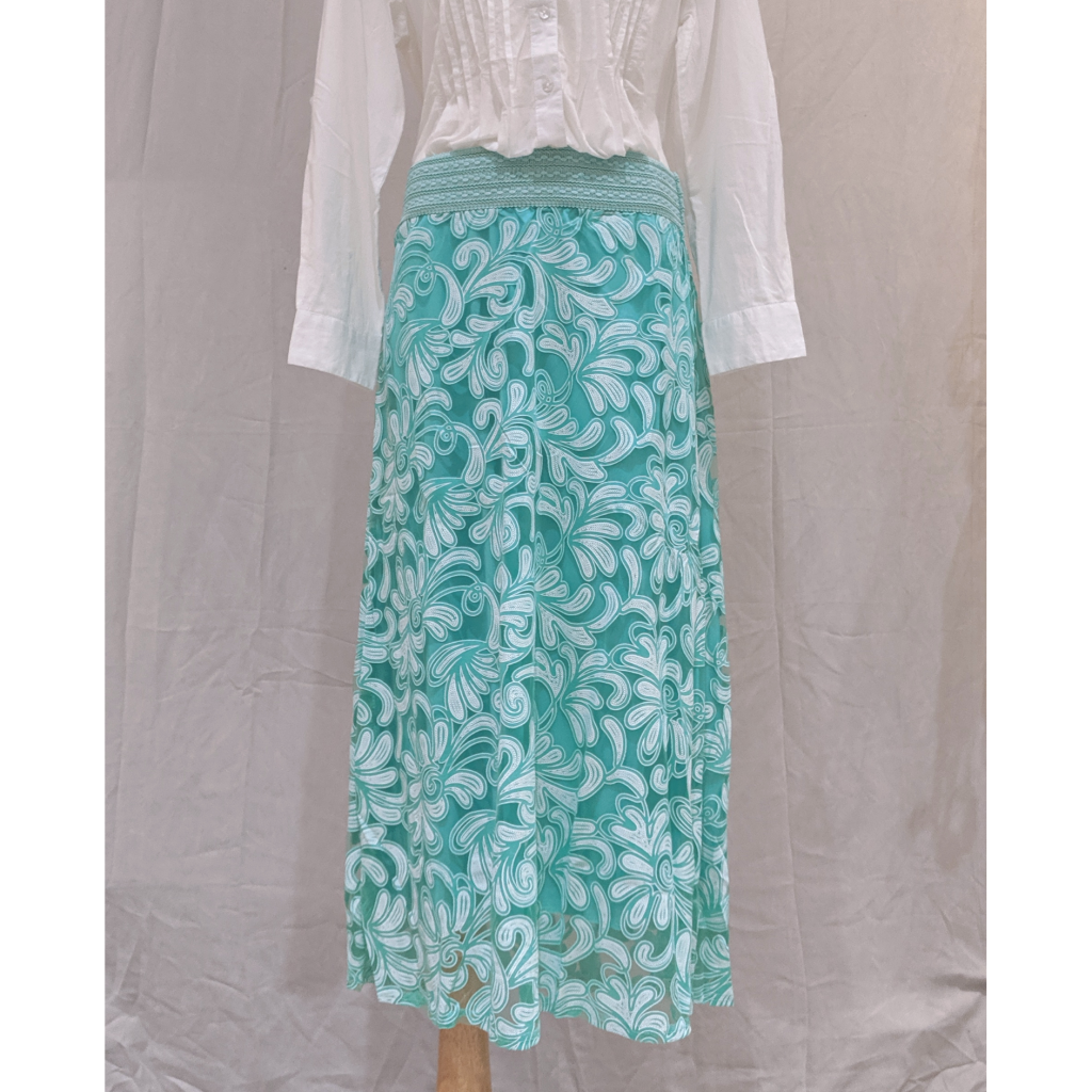 Green Floral Pattern Skirt