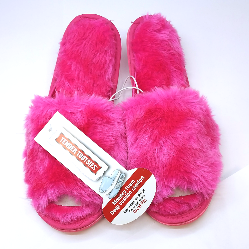 Tender Tootsies Plush Slipper (Electric Pink)