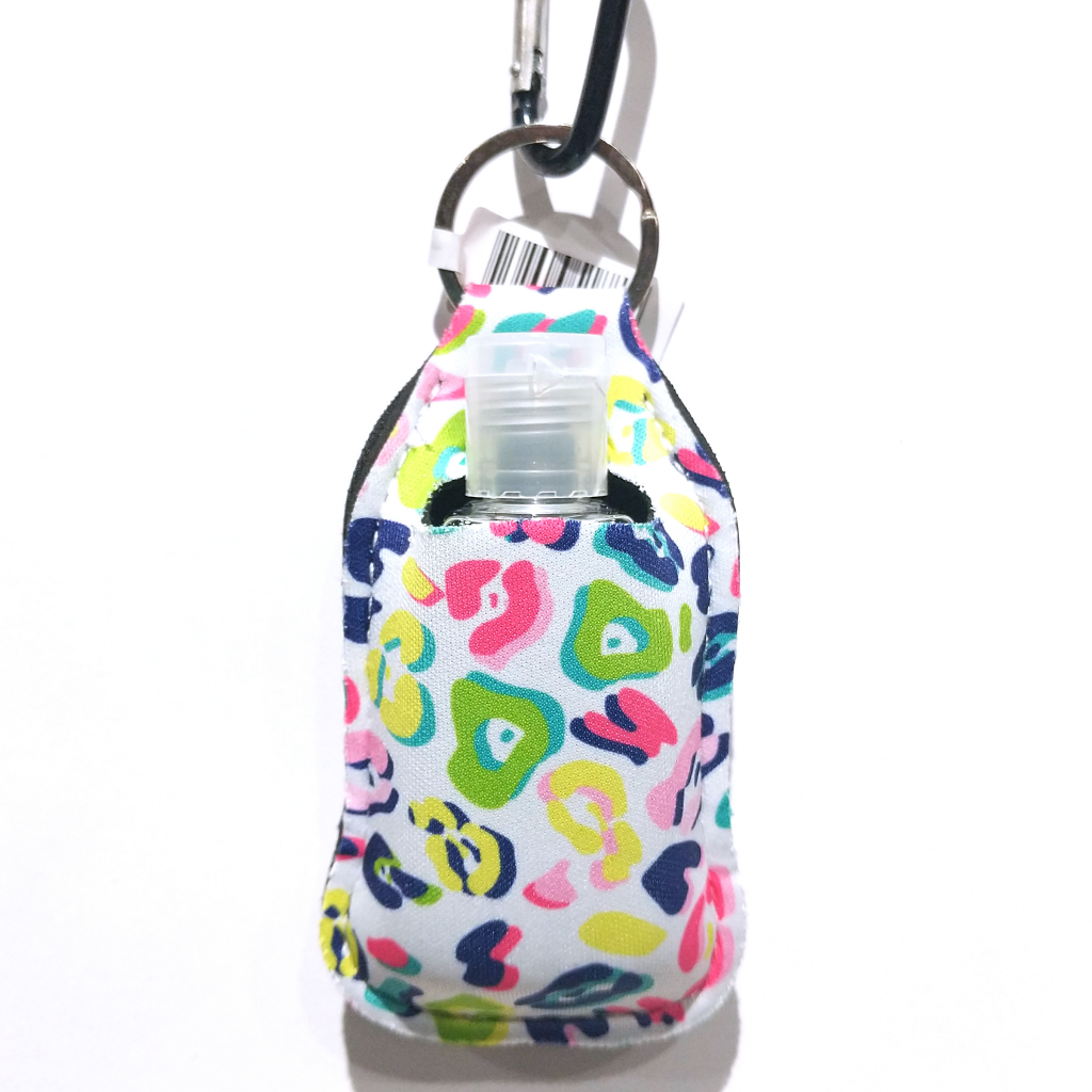 On the Go Sanitizer Holder: Rainbow Leopard (with 1oz Bottle)