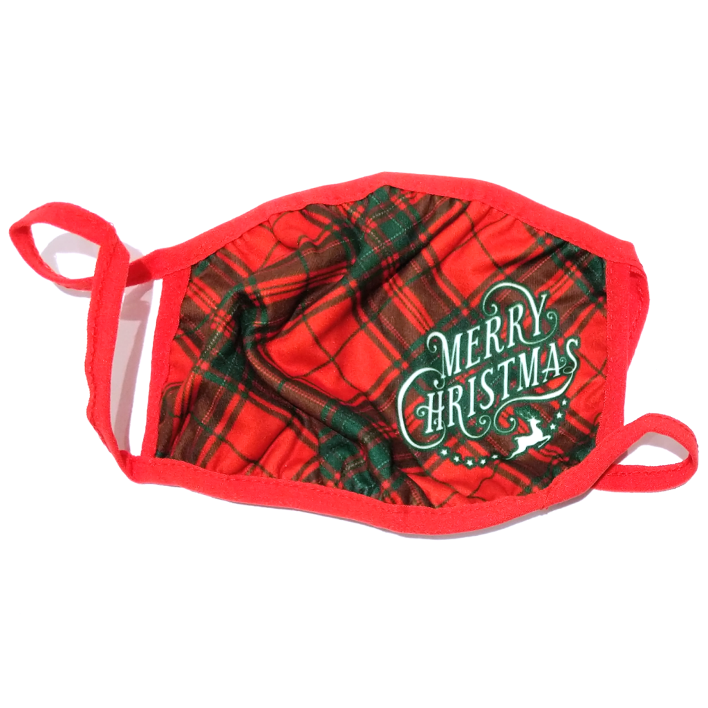Kurt Adler Merry Christmas Tartan Face Mask (Two Sizes)
