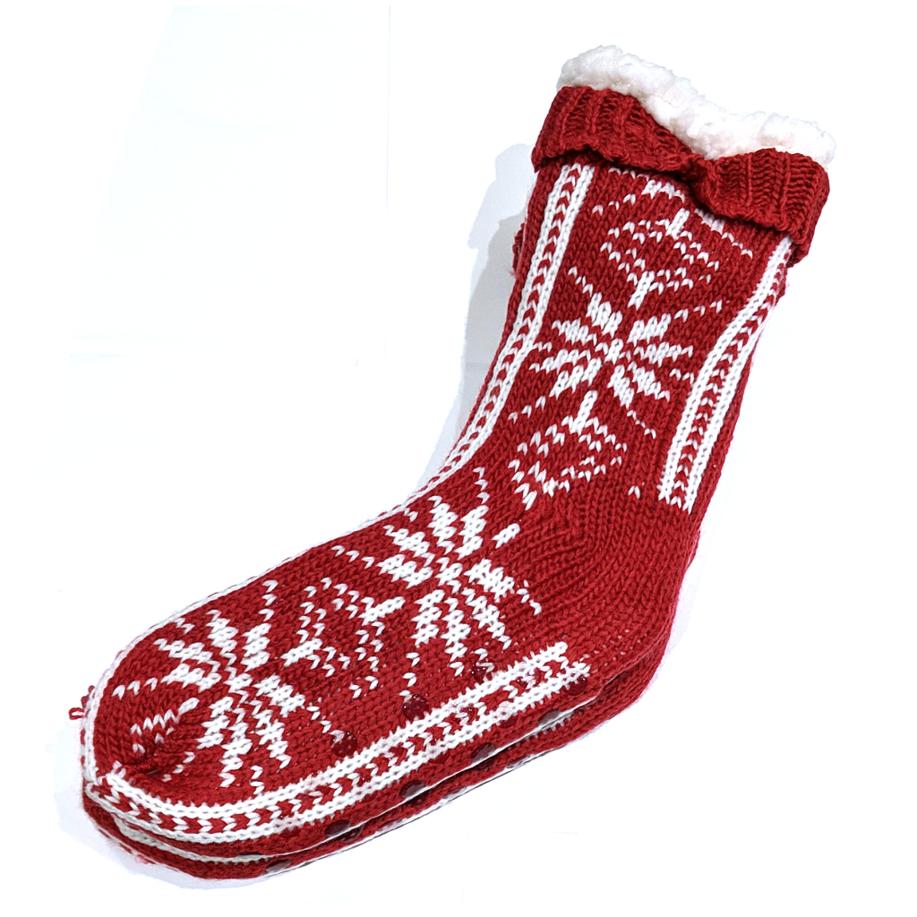 Snoozies Socks: Big Flake Red