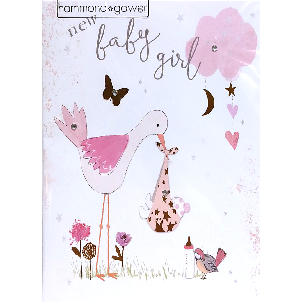 New Baby Card: Baby Girl Stork