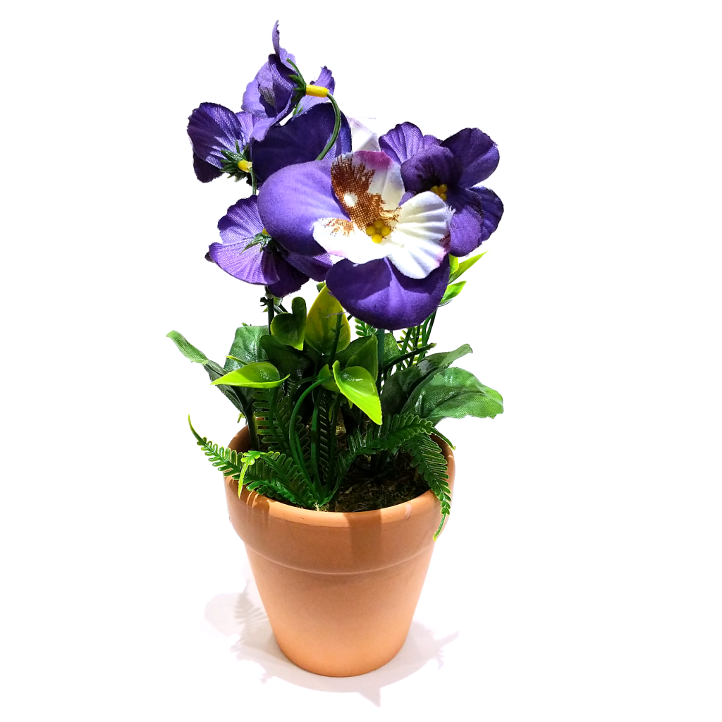 Violet Mini (Faux) Pansies in Vase