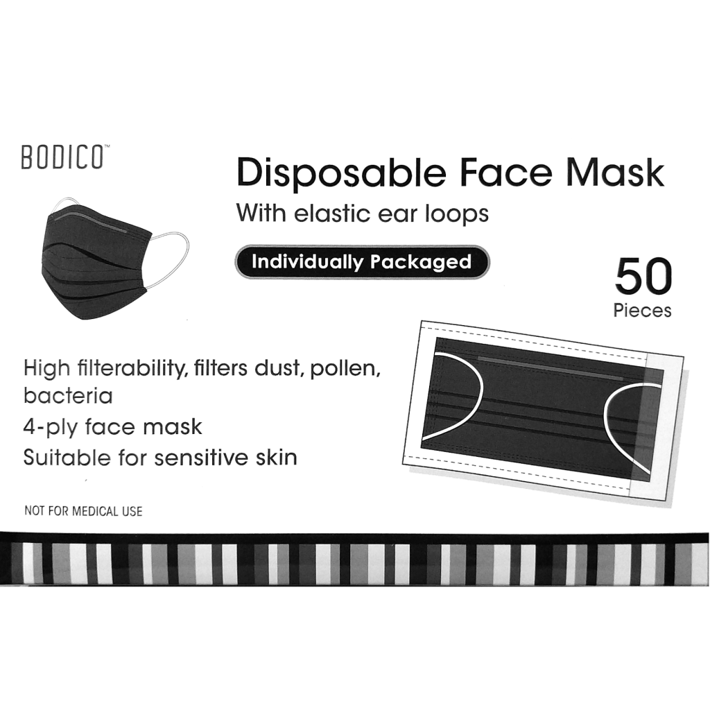 Disposable Black Face Mask (Pack of 50)