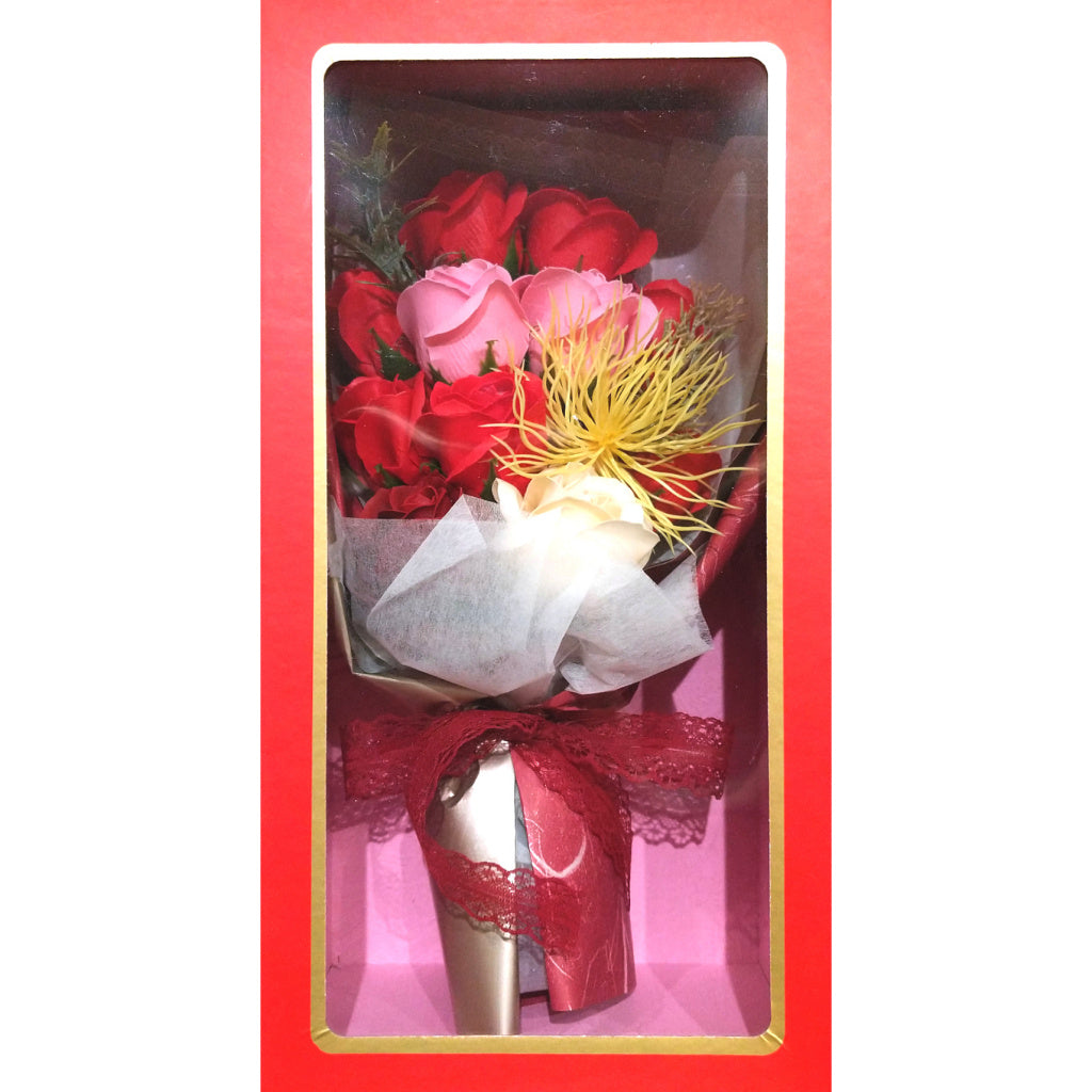 Boxed Faux-Flower Bouquet: Red Roses