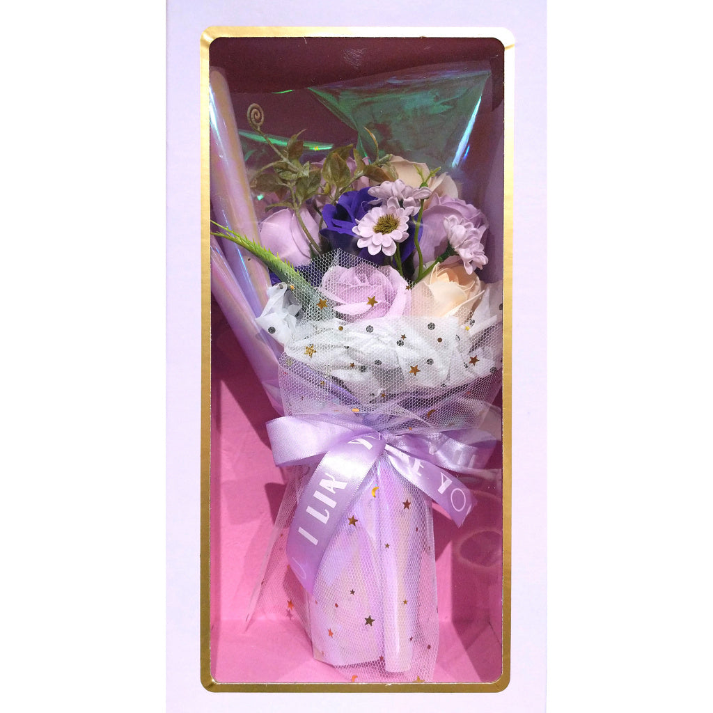 Boxed Faux-Flower Bouquet: Violet Roses