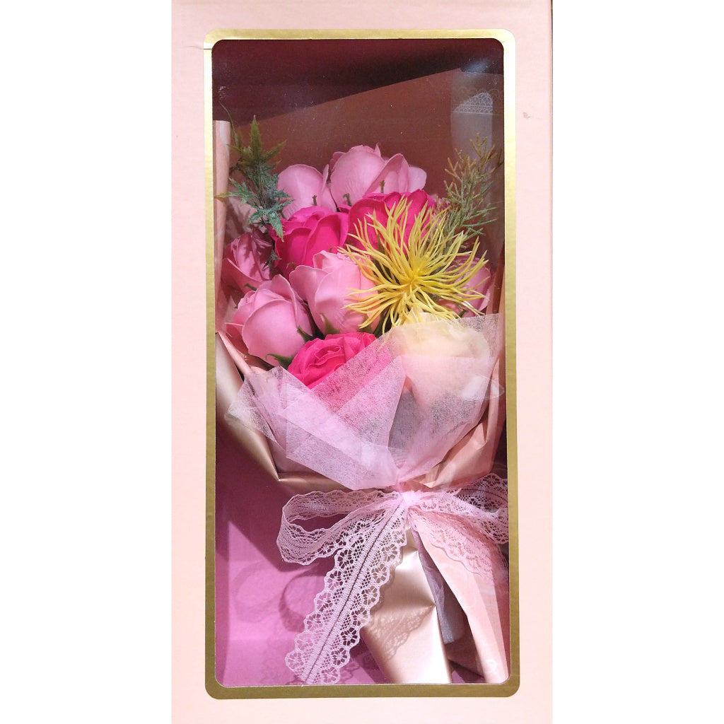 Boxed Faux-Flower Bouquet: Pink Roses