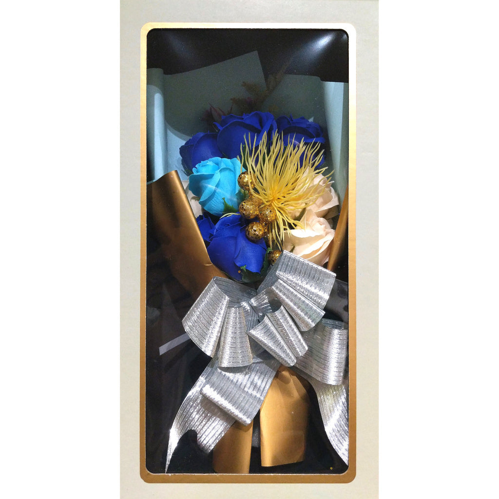 Boxed Faux-Flower Bouquet: Blue Roses
