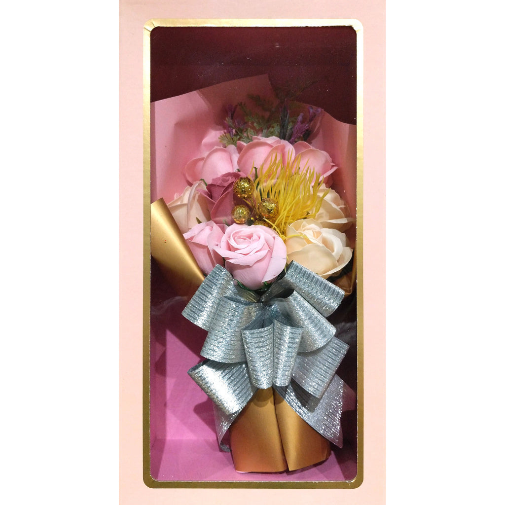 Boxed Faux-Flower Bouquet: Light Pink Roses