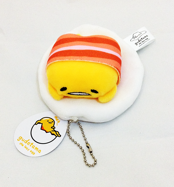 Gudetama: The Lazy Egg Plush Keychain (With Bacon)