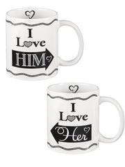 """I Love Him / Her"" Mugs"