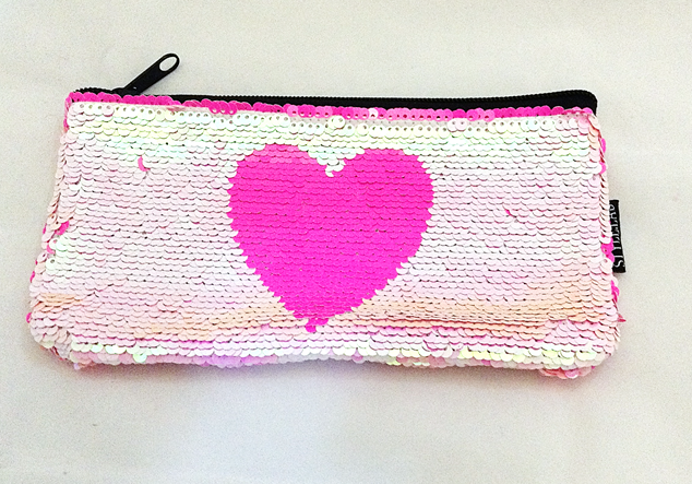 Magic Sequin Heart Pencilcase