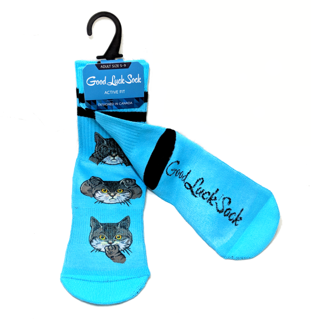 Good Luck Sock: Hear no Cats, See no Cats.. (Size 5-9)