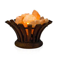 Load image into Gallery viewer, Himalayan Natural Pink Rock Lamp - Salt Lamp Wooden Basket with Salt Chunks with On and Off Switch/Dimmer - 5-7 Lbs - Bulb with 6-8 Inches UL Electric Cord