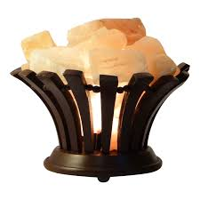Himalayan Natural Pink Rock Lamp - Salt Lamp Wooden Basket with Salt Chunks with On and Off Switch/Dimmer - 5-7 Lbs - Bulb with 6-8 Inches UL Electric Cord