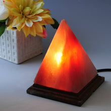 Load image into Gallery viewer, Natural Himalayan Hand Carved Salt Lamp - Pyramid Shape Stylish Wood Base with On and Off Switch/Dimmer - 5-7 Lbs - Bulb with 6-8 Inches UL Electric Corded