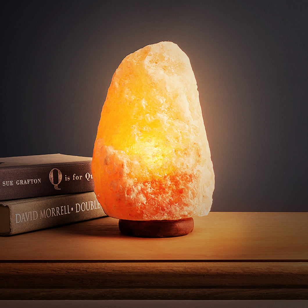 Himalayan Natural Rock Salt Lamp - Stylish Wood Base with On and Off Switch/Dimmer - 5-7 Lbs - Bulb with 6-8 Inches UL Electric Corded (5-7 lbs)