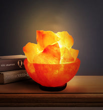 Load image into Gallery viewer, Natural Himalayan Salt Bowl Lamp - Salt Lamps Chips Stylish Wood Base & Bulb with On and Off Switch 6-8 Inches 5-7 lbs - Christmas Gifts (Fire Balls)