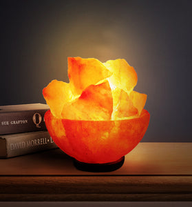 Natural Himalayan Salt Bowl Lamp - Salt Lamps Chips Stylish Wood Base & Bulb with On and Off Switch 6-8 Inches 5-7 lbs - Christmas Gifts (Fire Balls)