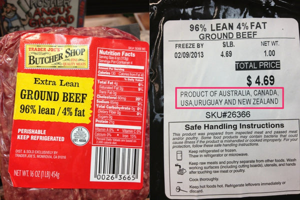 Ground Beef from multiple countries