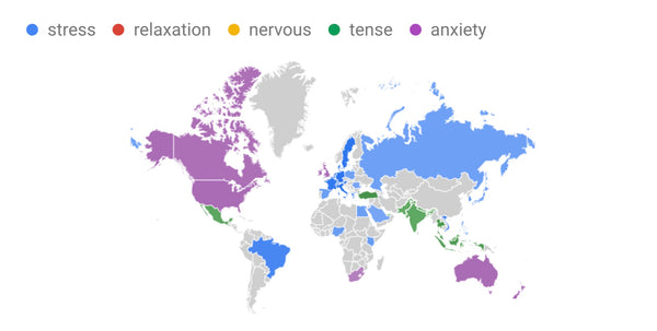 stress and anxiety search term interest by region