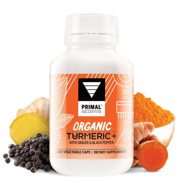 Primal Collective Organic Turmeric Black Pepper Ginger Capsules